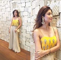 Shilpa Shetty looked lovely in a Arpita Mehta cami style top and beige palazzo pants for Bipasha Bas... - Provided by Indian Express Slideshows