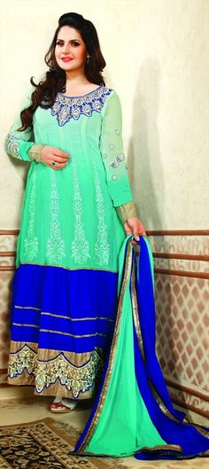 414043: Do the #DualTone like actress #ZarineKhan. Steal her style of #anarkali . #Bollywood #sale #neon #florescent