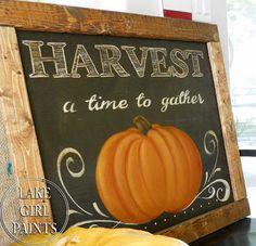 fall painted pumpkins, fall decor, pallet frame, lake girl, pumpkin sign