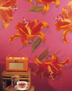 A drop shadow effect adds drama to this stencilled wall. Stencil is VN153 Lilies from stencil-library.com