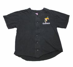 Vintage 90s Guinness Faded Black #9 Champion Baseball Jersey Mens Size Large $30.00