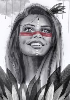 Eva Lubart smile woman with feathers native amerindienne wild free http://evalubart.ultra-book.com #digital art #art numérique