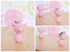 Cute Polymer Clay Pig Phone Charm - Pig Phone Strap