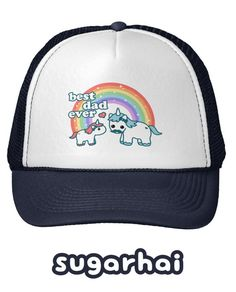 Super cute trucker hat with rainbow unicorns for the best dad ever. Rainbow  Cloud 53d500479769