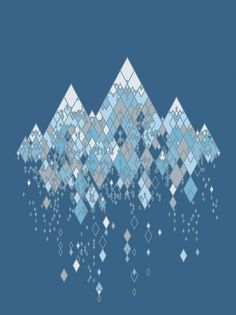 This is an abstract looking piece of the mountains. The picture is made out of little triangles of different colors that when put together look really cool. I love the illusion of the mountains falling and crumbling which looks really cool. The darker blue background helps certain parts pop out and be more noticeable.