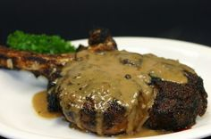 Peppercorn Crusted Rib-Eye W/ Brandy Cream Sauce Recipe — Best Peppercorn Ribeye Ive ever had! Then I discovered that Texas Land and Cattle released the recipe online! Steak Au Poivre, Meat Recipes, Cooking Recipes, Savoury Recipes, Sauce Recipes, Yummy Recipes, Dinner Recipes, Healthy Recipes, Sauce Steak