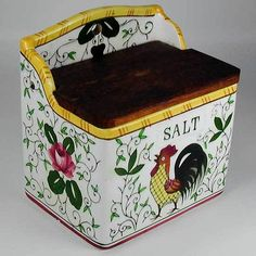 rooster and roses | Rooster and Roses Salt Box Early Provincial PY Japan 1950s