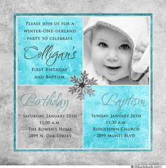 1st birthday and christeningbaptism invitation sample baptism photo winter birthday baptism invitation begins winter one derland party to celebrate first birthday party baptism a snowflake accents your photo bookmarktalkfo Image collections