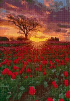 Oregon Tulip Farm sunset landscape Cross Stitch pattern PDF - Instant Download! by PenumbraCharts on Etsy