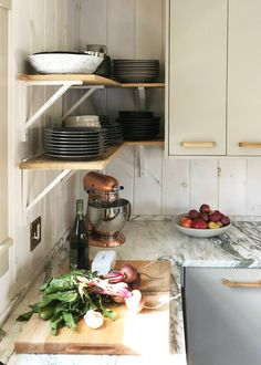 Sag Harbor Gray, Ben Moore, on cabinets. Ikea kitchen upgrade: a cost-conscious modern country kitchen with Semihandmade cabinet fronts Country Kitchen Cabinets, Kitchen Cabinet Styles, Rustic Kitchen, Kitchen Decor, Kitchen Country, Kitchen Ideas, Hickory Kitchen, Distressed Kitchen, Cheap Kitchen