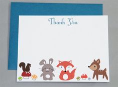 Woodland Animals Birthday Thank You A2 Flat Note Cards (Choose your envelope color) (Set of 10)