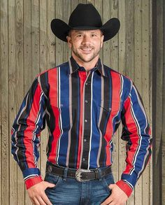 """Black, Red & Blue Striped Brushpopper Long Sleeve Shirt with western yokes, snap front #winter2015 casual men's clothing for cowboys rugged men man western ranch style tough """"gifts for cowboys"""" """"gifts for men"""""""