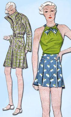 1930s Vintage Simplicity Sewing Pattern 1439 Misses Bathing Suit & Coat Size 32B #Simplicity #BathingSuitPattern