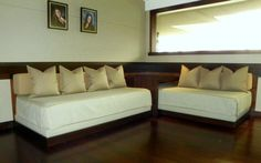 """Twin beds into couch thanks to """"end"""" table at corner Empty Nest Makeover » Susan's Designs"""