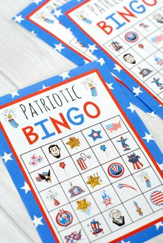 Print these of July Bingo game cards for a perfect patriotic activity to help you celebrate the big day! Fun patriotic images, famous Americans and holiday fun all on a free printable game card. Patriotic Images, Patriotic Crafts, Patriotic Party, July Crafts, 4th Of July Party, Fourth Of July, Summer Crafts, Bingo Card Template, Independance Day