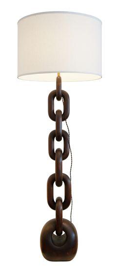 Chain Link Floor Lamp  MidCentury  Modern, Natural Material, Wood, Floor by Dana John