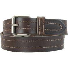 Montauk Leather Club 1-1/2 in. US Steer Hide Leather Double Stitch Men's Belt w/ Antq.Nickel Roller Buckle, Brown