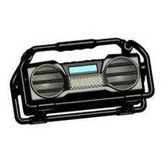 Industrial BoomBoX Splash Proof Heavy Duty Bluetooth Speaker Rugged & Portable Job-Site Wireless Sound System USB/SD/MP3/FM Radio (Black)