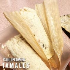 Ripped Recipes - Cauliflower Tamales - Low carb tamales made with cauliflower Bariatric Recipes, Ketogenic Recipes, Low Carb Recipes, Diet Recipes, Cooking Recipes, Healthy Recipes, Protein Recipes, Cooking Tips, Freezer Recipes