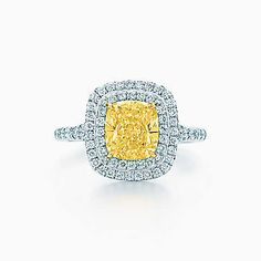 Tiffany Soleste® ring in platinum and 18k gold with a yellow diamond.