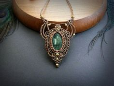 Seraphinite macrame necklace. Bohemian jewelry design. Boho