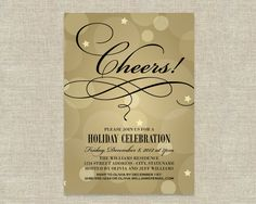 Holiday Party Invitations - Champagne Bubbles Cheers Theme