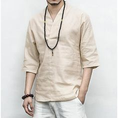Men's Summer T shirts Chinese style Cotton linen Tops Blouses Pullover Tang tee Mens Tunic, Tunic Shirt, Chinoiserie, Half Sleeves, Shirt Sleeves, Mens Summer T Shirts, Pantalon Slim, Linen Tshirts, Mens Jogger Pants