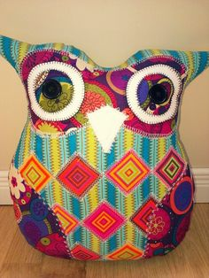 Owl pillow stuffed owl  bedroom and living room by thecolourfulsea, $30.00
