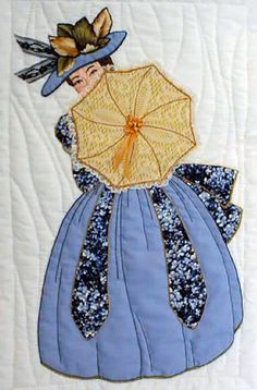 "#16 ""Bonnet Girl Relatives & Friends""  Phoebe $6.50.  Phoebe is twirling here lovely umbrella that matches her fantastic hat.  Embroidery floss or ribbon appliqué decorates the end of the umbrella."