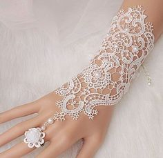 ON SALE Bridal gloves, Wedding glove, lace bridal gloves, bridal cuff, Lace Wedding Accessories, white wedding, fingerless bridesmaid gloves...