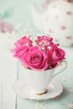 Roses and gypsophila in a teacup by Ruth Black