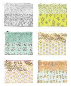 Original Fabric Zip Pouches by Marie Gardeski, via Behance