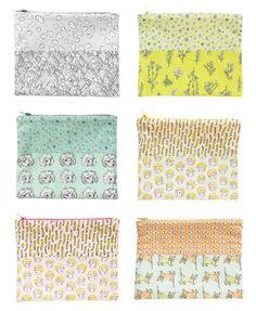 Original Fabric Zip Pouches by Marie Gardeski, via Behance