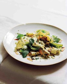 Green Tomatoes with Pasta, Mint, and Toasted Almonds