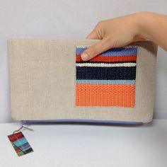 New to pidgepidge on Etsy: Ada | Peach & Periwinkle Handwoven Fold Over Clutch | Woven Vegan Envelope Clutch | Ladies Linen Accessories | Woven Bridesmaid Purse