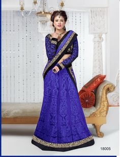 Bright blue or ink shaded soft net embroidered #lehengacholi comes ...