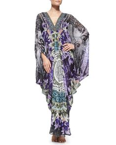 Beaded Printed Maxi Caftan Coverup by Camilla at Neiman Marcus. Camilla Dress, Kaftan Style, Big Dresses, Silk Gown, Kimono Top, Cover Up, Gowns, Clothes For Women, Caftans
