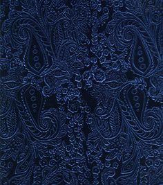 Special Occasion- Embossed Velvet Paisley Navy: special occasion fabric: apparel fabric: fabric: Shop | Joann.com