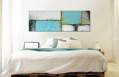 XL Abstract painting Flat landscape Turquoise by RonaldHunter