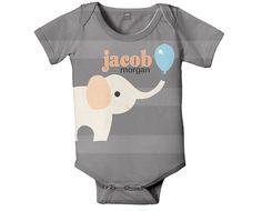 Personalized Bodysuit, Elephant Balloon, Custom Baby Boy Snapsuit, Onepiece Boy's Clothing