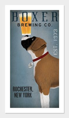 Made to Order  BOXER  Dog Brewing Company graphic by nativevermont, $39.00