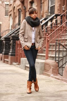 Clare Brown Meneely [Clarabelle Blog] in Zara shoes and blazer, J.Crew jeans, ASOS shirt, and a scarf from Etsy.