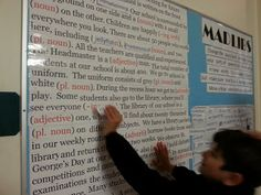 Giant Mad Libs bulletin board....maybe use for back to school with the story about our school?