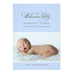 Welcome Baby Photo Birth Announcement Card | Light Blue for Baby Boy #newborn #baby #babies #boy #boys #announcements