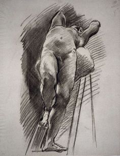 John Singer Sargent, Male Nude Leaning Back on Ladder on ArtStack #john-singer-sargent #art