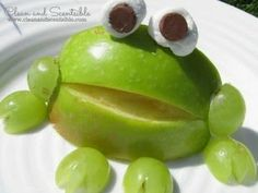 Frog apple snack to go with Frog and Toad Together. Book 3 of 16 Spring Books and Free Resources.