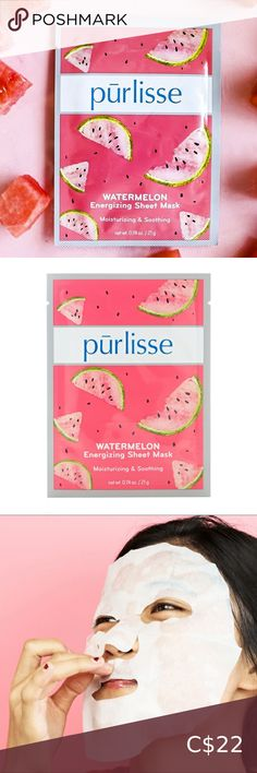 Purlisse Watermelon Sheet Masks 6 pack Purlisse Watermelon Sheet Masks 6 pack Quench skin with a burst of freshness for an instant glow! A cooling and hydrating sheet mask that works to awaken tired looking skin. purlisse Skincare Mask Peel Off Mask, Sheet Mask, Brow Gel, Matcha Green Tea, 6 Packs, Full Zip Hoodie, Tired, Watermelon, Masks