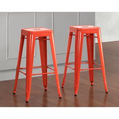 @Overstock - These stylish and functional Tabouret metal bar stools are a unique seating solution for your living space. These stools are powder coated for lasting durability.http://www.overstock.com/Home-Garden/Tabouret-30-inch-Tangerine-Metal-Bar-Stools-Set-of-2/7213083/product.html?CID=214117 $99.99