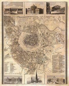 Vienna vintage map, 1844.