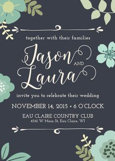 Wedding Invitation Floral Navy and Mint Printable or by themunch